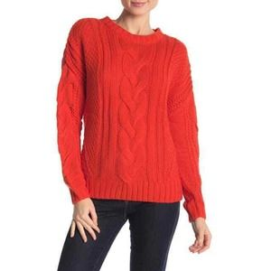 One A Mixed Knit Crew Neck  Sweater Small Orange